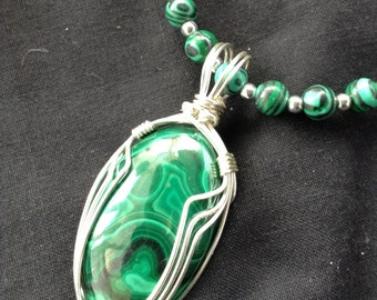 Handmade silver and malachite pendant and necklace, green gemstone pendant