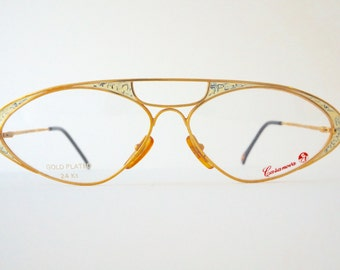 Casanova C07 24 K Gold, vintage eyeglasses,Italy, New Old Stock, collector piece 90s, Eyewear vintage
