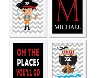 Pirate Nursery Art Set of 4 Prints Red Black White Grey Oh The Places You'll Go Letter Personalized Name Child Kid Boy Room Wall Decor Ship