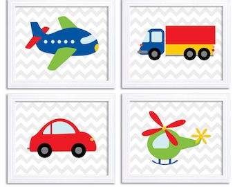 Transportation Nursery Art Set of 4 Print Colorful Red Blue Green Yellow Chevron Child Kid Boy Room Wall Decor Airplane Car Truck Helicopter