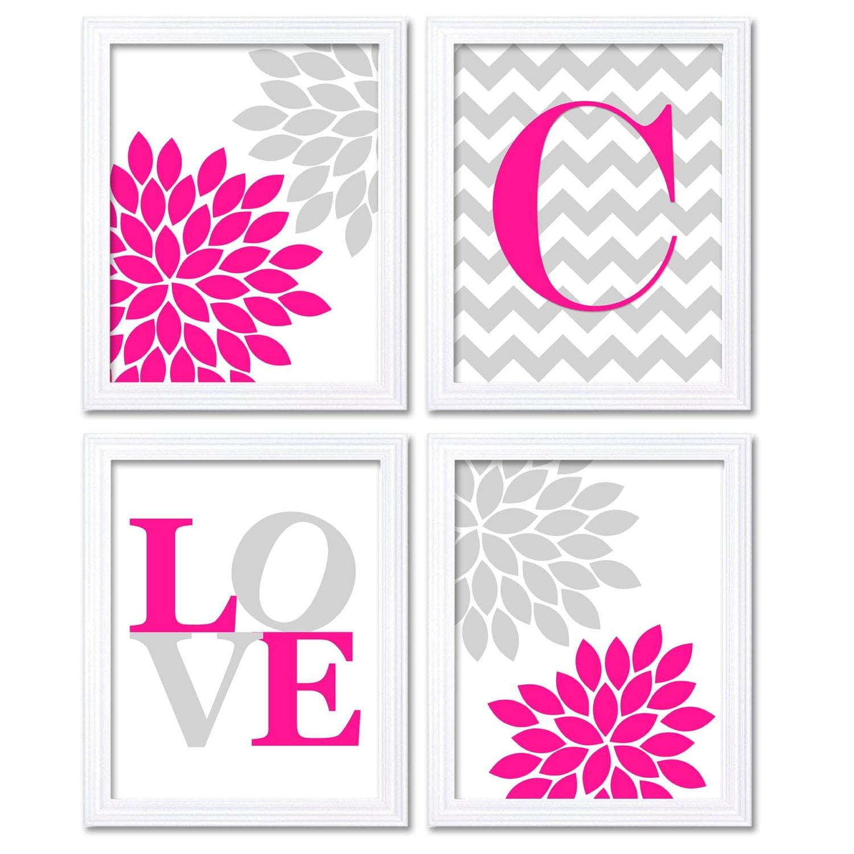 Nursery Art Hot Pink Grey Flowers Love Monogram Custom Letter Set of 4 Print Child Baby Girl Nursery