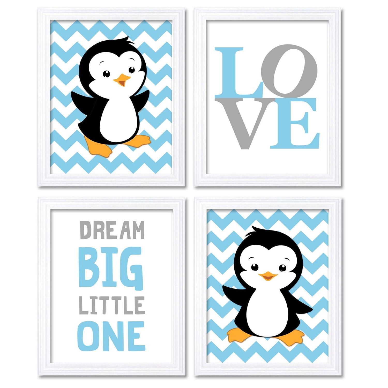 Penguin Nursery Art Baby Blue Grey Dream Big Little One LOVE Set of 4 Prints Penguin Wall Art Chevro
