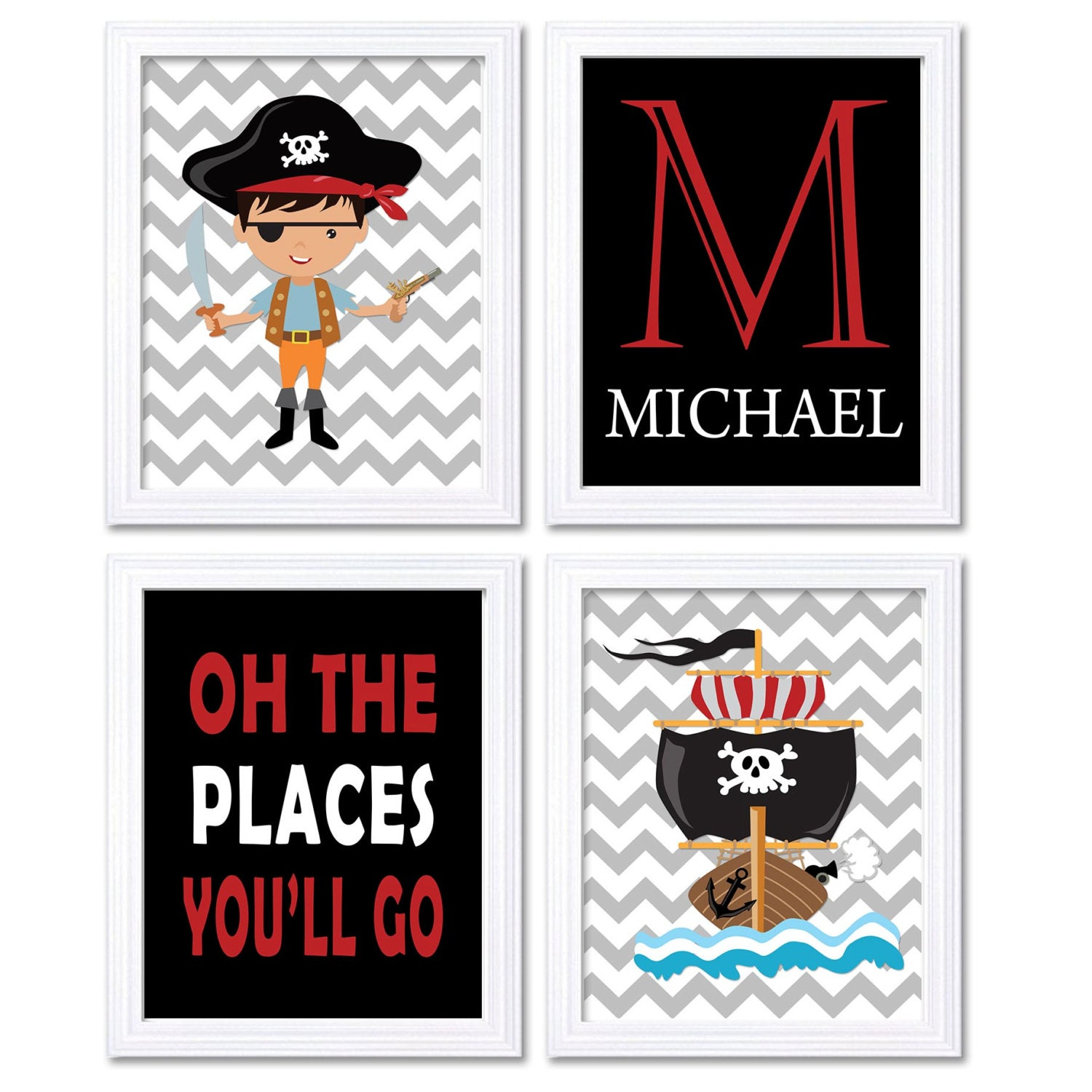 Pirate Nursery Art Set of 4 Prints Red Black White Grey Oh The Places Youll Go Letter Personalized N