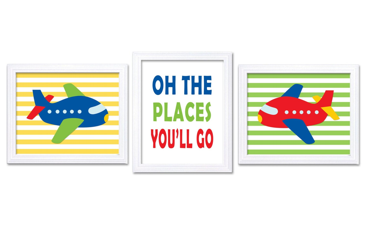 Transportation Airplane Nursery Art Set of 3 Print Oh The Places Youll Go Colorful Red Blue Green Ye