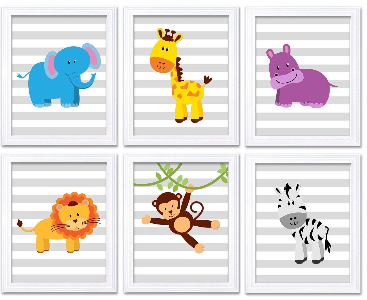 Africa Animals Jungle Nursery Art Set of 6 Prints Baby Kids Wall Art Decor Children Bedroom Elephant