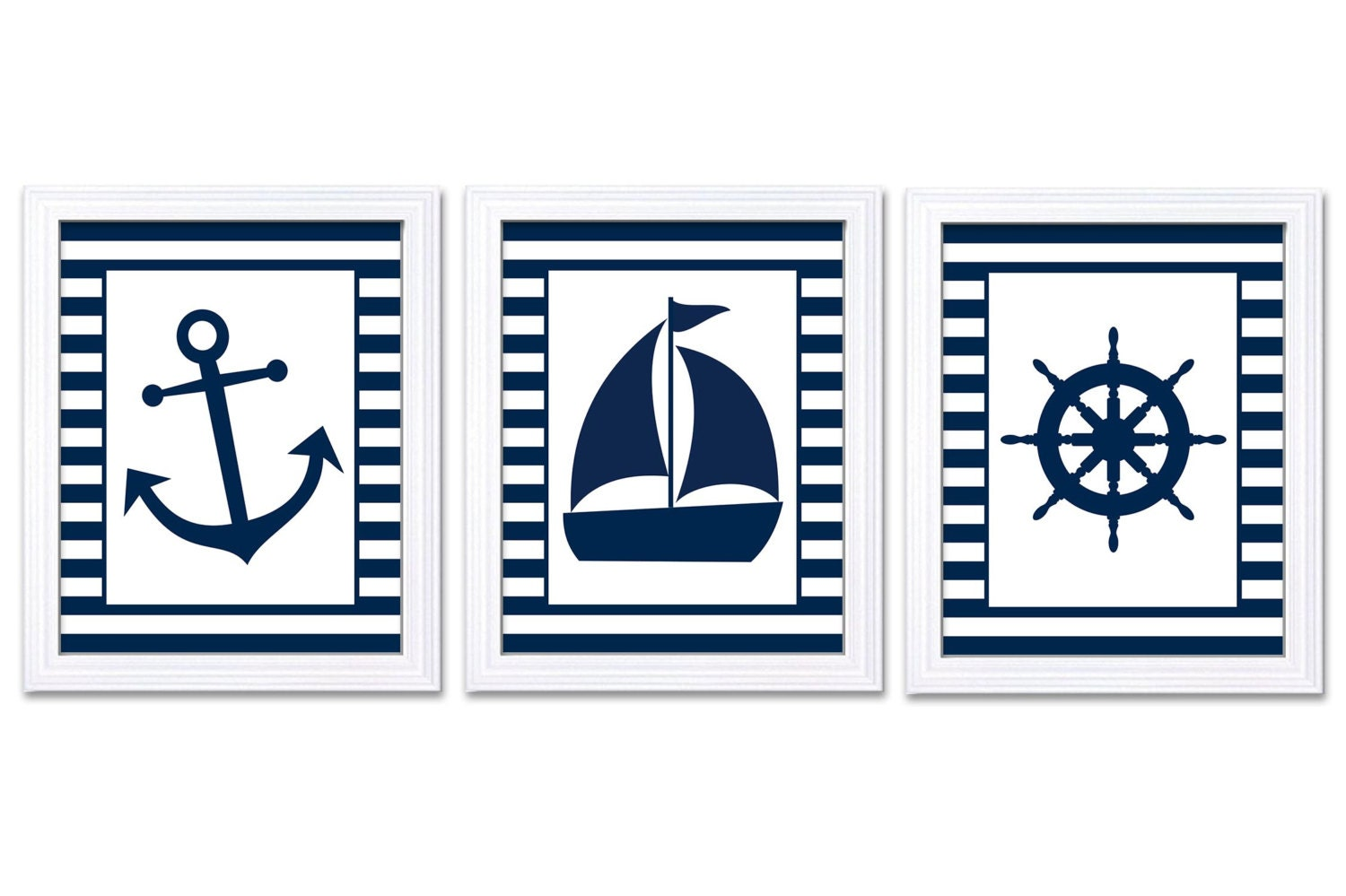 Nautical Nursery Art Ocean Marine Blue Navy Boys Art Print Sailboat Captain Wheel Anchor Nursery Pri