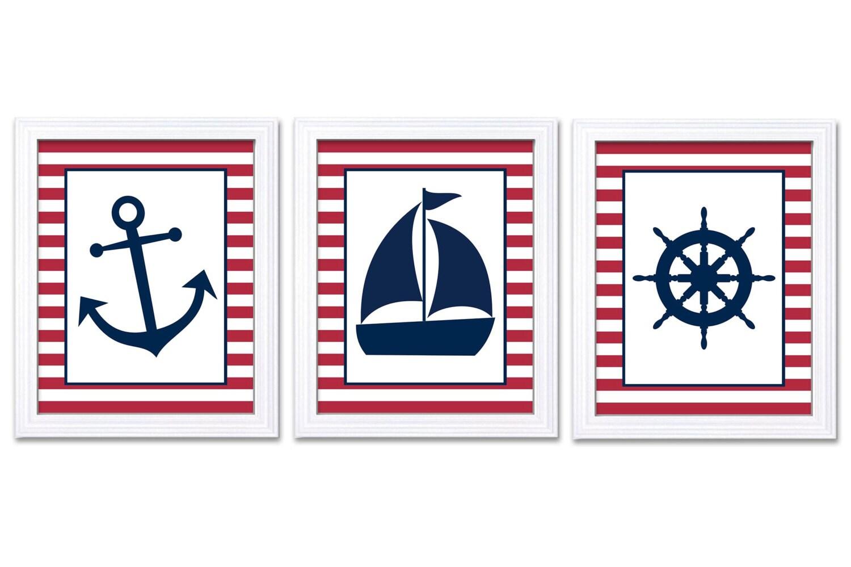 Nautical Nursery Art Ocean Marine Red Navy Blue Boys Art Print Sailboat Captain Wheel Anchor Nursery