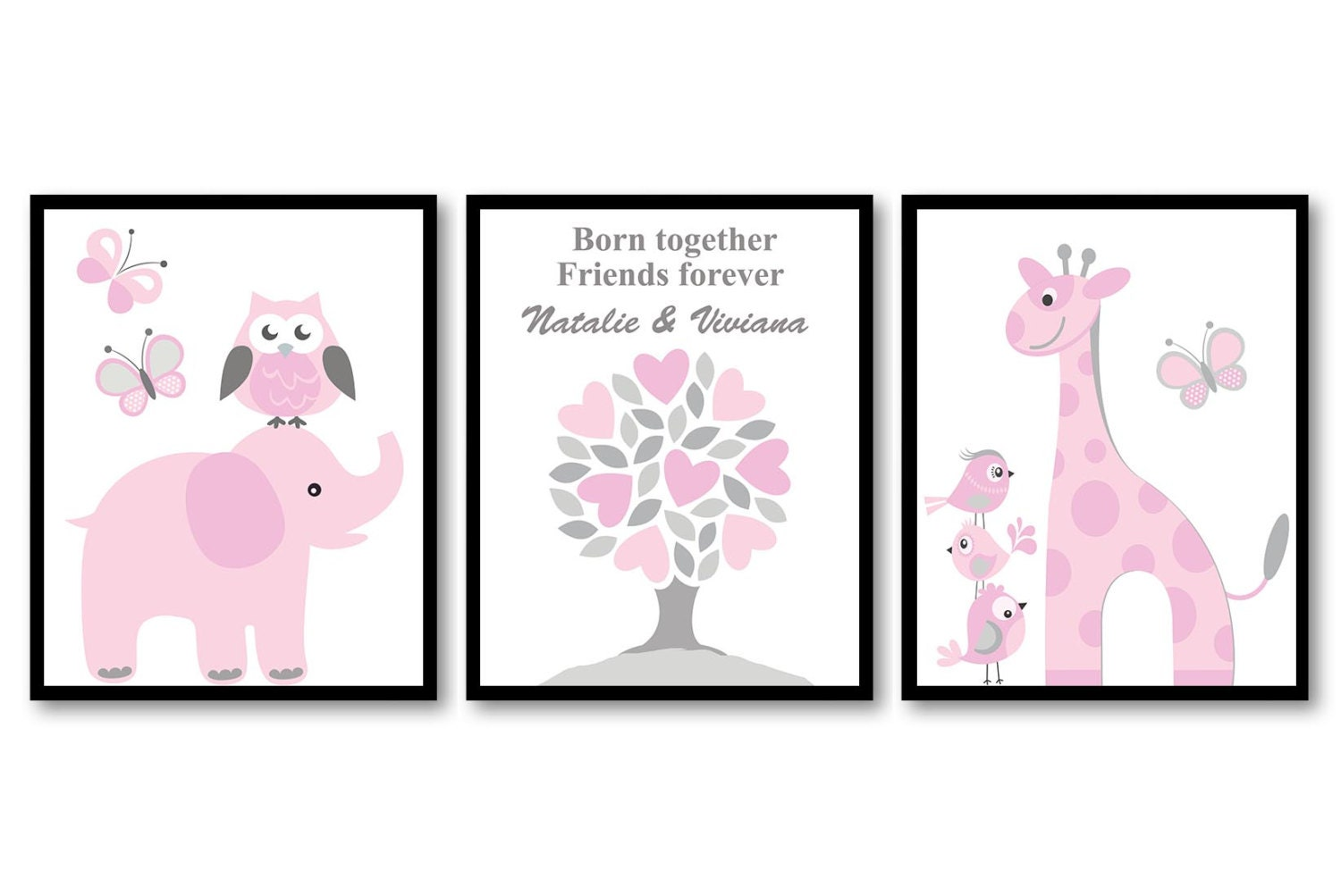 Pink Grey Twin Girls Nursery Art Print Set of 3 Born Together Friends Forever Personalized Name Elep