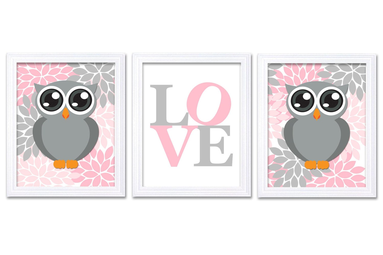 Owl Nursery Art Set of 3 Prints LOVE Pink Grey Gray Chrysanthemum Flowers Owl Wall Decor Baby Girl C