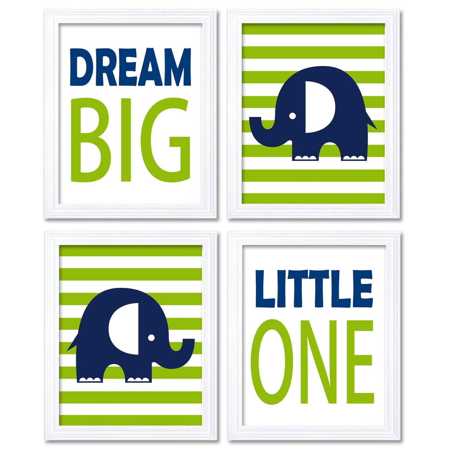 Blue Green Lime Navy Elephant Nursery Art Dream Big Little One Set of 4 Prints Stripes Child Kid Roo