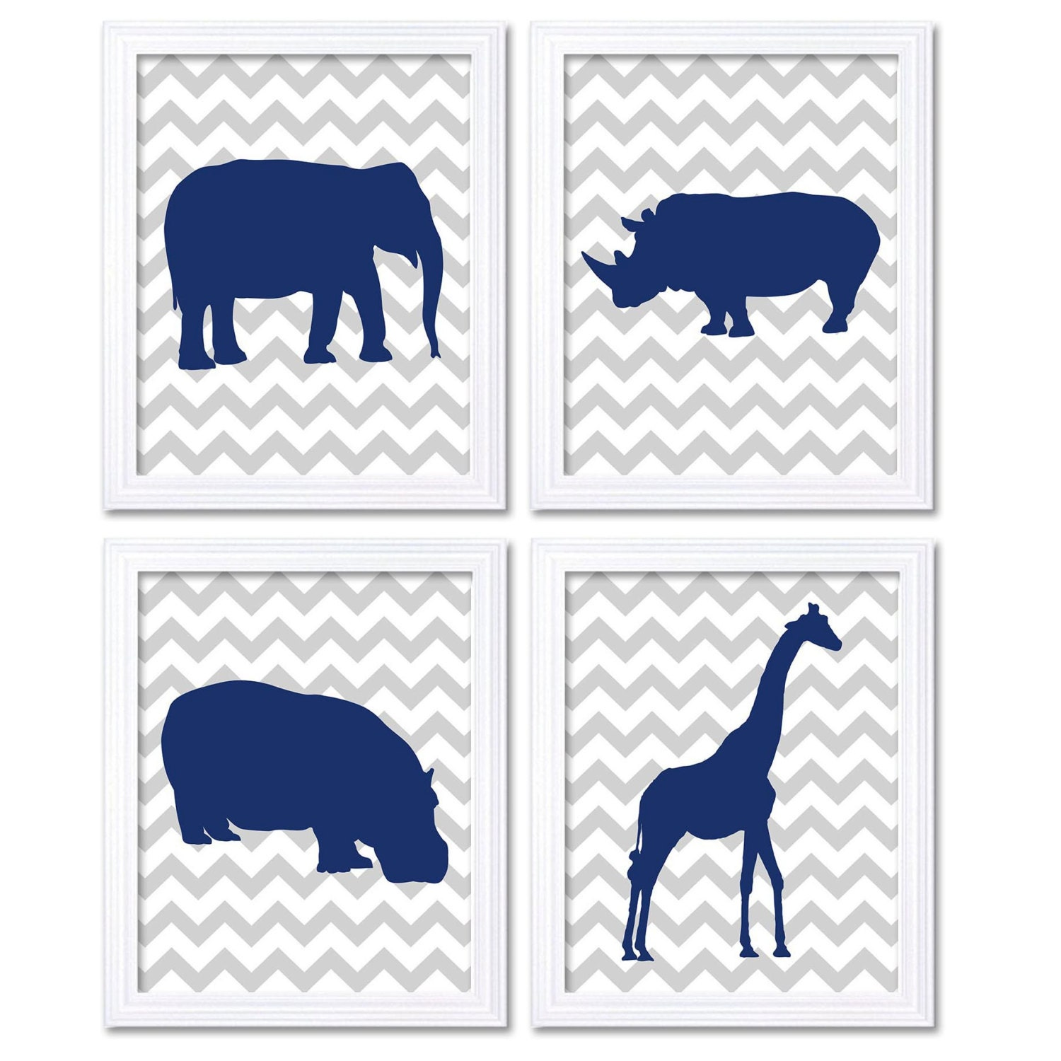 Blue Navy Grey Nursery Art Nursery Print Baby Africa African Animals Set of 4 Prints Safari Jungle E