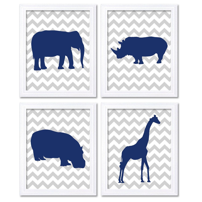 Blue Navy Grey Nursery Art Nursery Print Baby Africa African Animals Set of 4 Prints Safari Jungle E