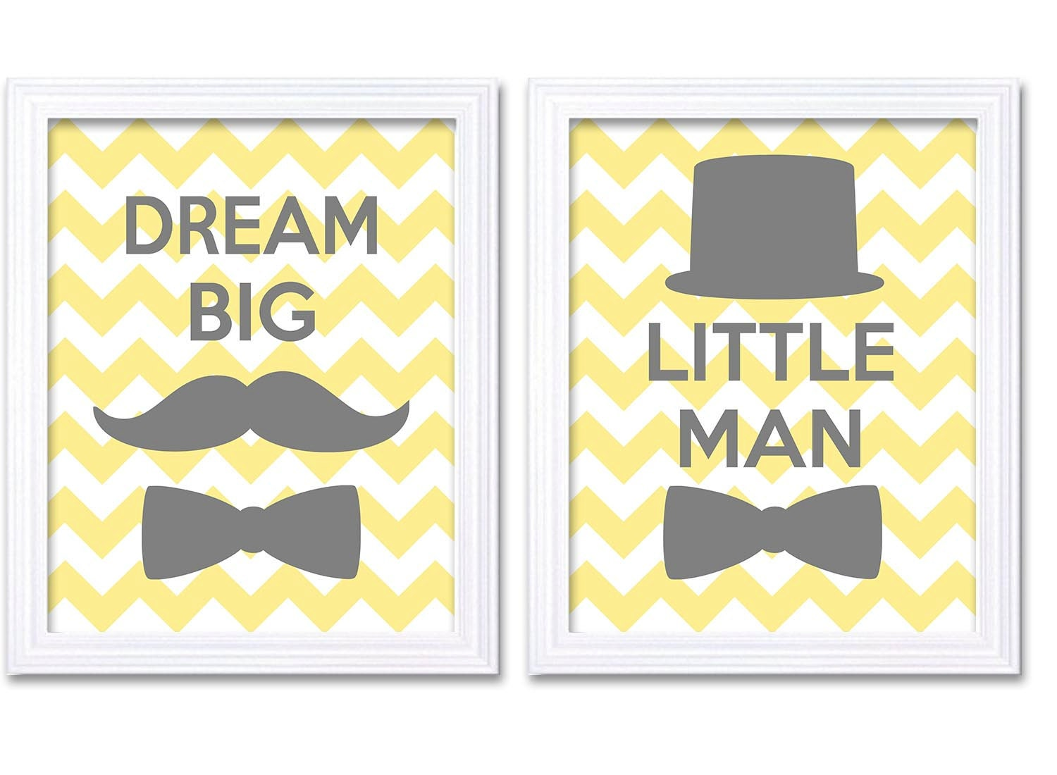Dream Big Little Man Nursery Art Yellow Grey Nursery Print Set of 2 Tophat Bowtie Child Baby Art Pri