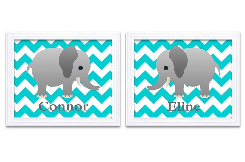 Personalized Name Elephant Nursery Art Grey Turquoise Blue Elephant Prints Set of 2 Twins Chevron Ba