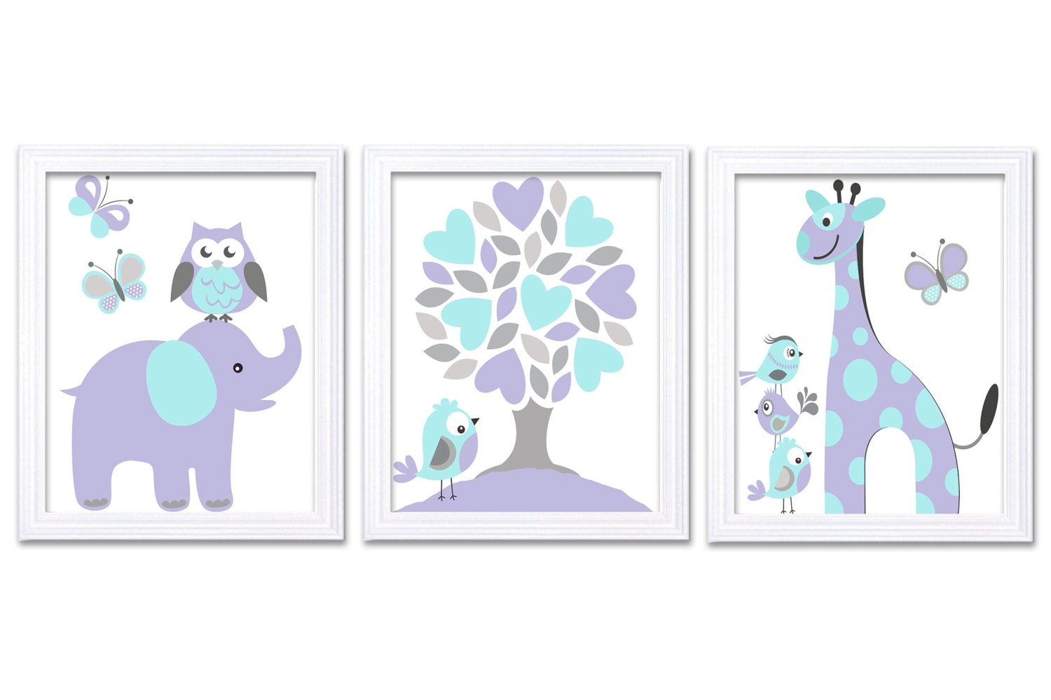 Lilac Purple Turquoise Blue Nursery Art Print Set of 3 Elephant Owl Bird Tree Giraffe Baby Nursery P