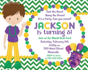 Mardi Gras Birthday Party Invitation, Mardi Gras Party Theme, Kids Mardi Gras Party Invitation - Printable or Printed with FREE SHIPPING