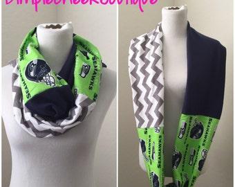 Seahawks scarf- seahawks, gray chevron, navy