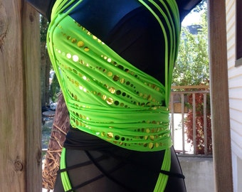 Neon green and black versatile multiway gogo modeling rave wrap top