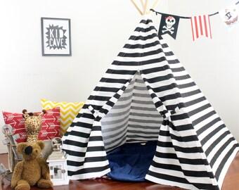 Black Striped Teepee Play Tent, Ready to Ship, Teepee, Tee Pee, Childrens Teepee, Kids Tent, Tee Pee Tent, Playouse, Kids Teepee Tent