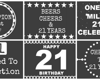 21st Birthday Beer Labels - Chalk Board Style
