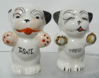 Vintage Dog Salt Pepper Shaker Set Black White Spots Made in Japan Ceramic