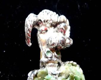 Vintage Poodle Brooch Green Jade Chips