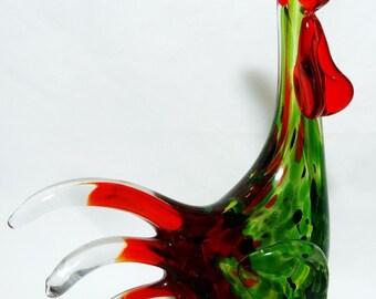 Rooster Art Glass Adventurine Tutti Fruitti Vintage