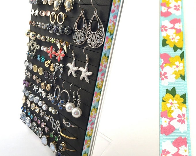 Earring Organizer - Tropical Floral Ribbon - Stud Earring Display