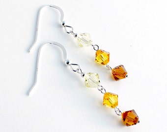 Swarovski Crystal earrings, Sterling Silver jewelry, Swarovski earrings, Silver earrings, Crystal earrings, swarovski beads, yellow crystal