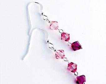 Swarovski Crystal earrings, Sterling Silver earrings, Swarovski earrings, Silver earrings, Crystal earrings, swarovski beads, pink earrings
