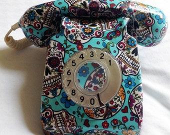 A genuine GPO phone covered in 100% cotton fabric by Alexandra Henry Sugar Skulls Dias De Los Muertos