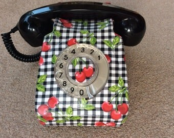 Genuine 746 GPO Phone decorated in cherry gingham fabric.