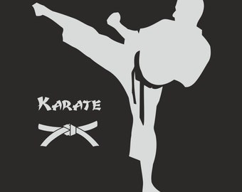 Karate Silhouette wall vinyl sticker plus kid's name - wall removable decal
