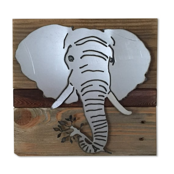 Metal Wall Decor Animals : Elephant head wall art safari decor african