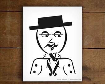 Musician gift / DAPPER MAN music art print - 5x7, 8x10, 11x14 Fine art print / Gifts for musicians / Music wall art / Music gifts