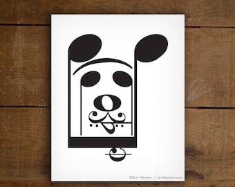 Music art print, HAPPY DOG - 5x7, 8x10, 11x14 Fine art print, Music teacher gift, Music decor, Music poster, Music note art, Music artwork