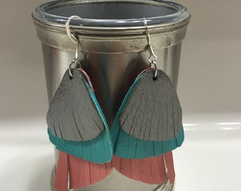 Coral, Teal and Pewter Feather Earrings
