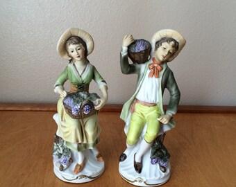 """Homco Porcelain Figurine """"The Harvest"""" 1978 - Farm Couple"""