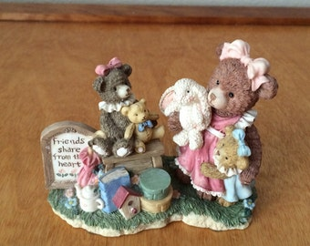 Freinds Share From Their Heart - Gentle Expressions Teddy Bear Figurine Collectable