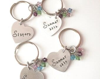 Sister Gift-Hand Stamped Custom-Personalized-Keychain-Mom-Nana-Dad-Friend Optional Swarvoski Birthstones