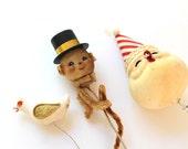 Vintage Blow Mold Snowman Head, Styrofoam Bird and Styrofoam Santa Head on Wire Stems, Vintage Holiday Craft Supply on Wire Stems