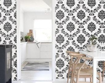 Self-adhesive peel and stick vinyl Wallpaper wall sticker - Geometric flower damask print wallpaper  C063
