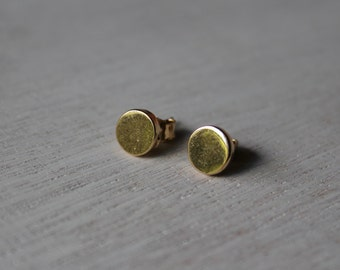Round Metal Earrings-Gold
