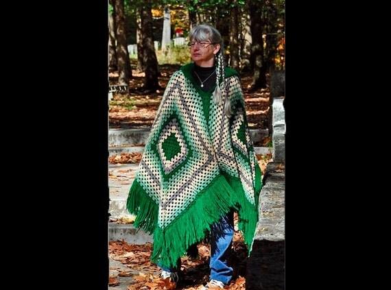 Hooded Poncho, Crochet, Boho Chic, Hippie, Womens Poncho, Hooded Wrap, Custom Made, Custom Order,  Large Poncho, Crochet Poncho