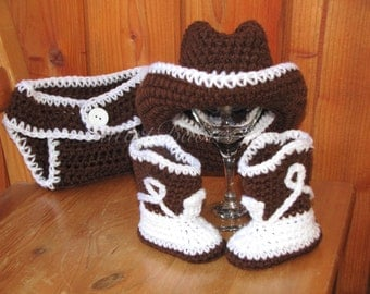 Newborn Baby Crochet Cowboy/ Cowgirl Costume Hat, Boots & Diaper Cover Photo Prop. 0-3, 3-6m.