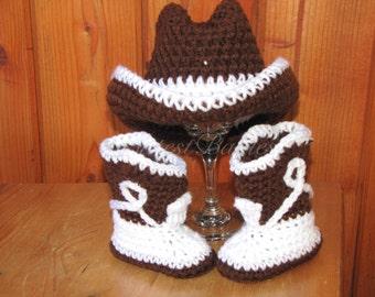 Newborn Baby Crochet Cowboy Costume Hat & Boots Photo Prop.