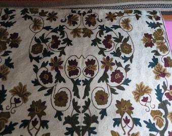 Mint, vintage/ carpet/wallhanging, chain stitchwool, handmade, medallion motifbrowns, cream/64 ins x 30 ins
