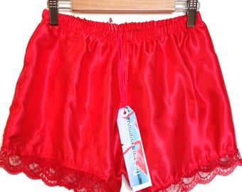 Red Satin Lace Trim Shorts