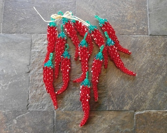 Chili peppers, chili pepper ornament, red chili peppers, Christmas ornament
