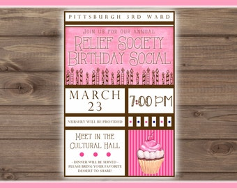 Relief Society Birthday Invitation, Printable, CUSTOMIZED, 4x6